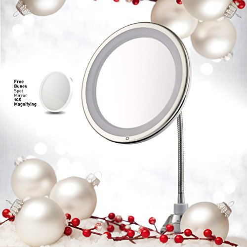 "Lighted Makeup Mirror 10"" Long Gooseneck Mirror w/ Warm LED Light, Best Wireless, Battery Operated, Adjustable, Bathroom Vanity Dresser Mirror, FREE 10X Magnifying Spot Mirror, Compact Travel Mirror"