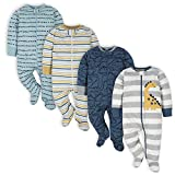 Gerber Baby Boys' 4 Pack Sleep 'N Play Footie, Dinosaur Blue, 0-3 Months
