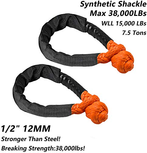 Review Samlighting Orange Synthetic Soft Shackle Rope 1/2 Inch X 22 Inch (38,000lbs Breaking Strengt...