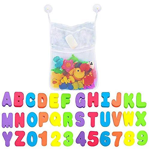 IWILCS Bad Spielzeug Organizer, Großes Bad Spielzeug Netz, Badewannen Spielzeug Aufbewahrungsnetz, mit Bade Buchstaben und Zahlen, 2 Saugnäpfen, für Kinder
