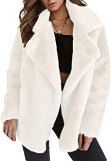 Women's Sexy Mohair Solid Warm Faux Fur Comfy Fall Winter Jacket Coat Outerwear