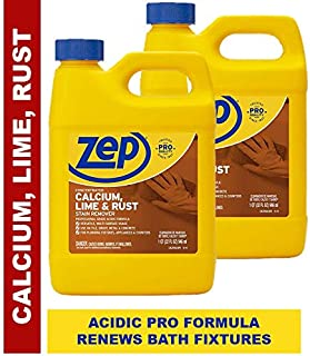 Zep Calcium, Lime and Rust Remover 32 ounce ZUCAL (Pack of 2) - Acidic Formula Preferred by Professionals