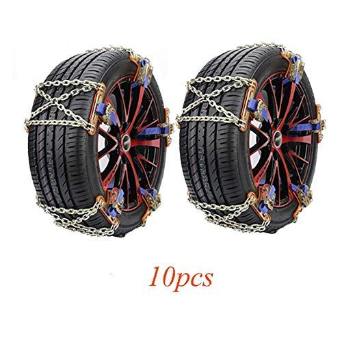 Chaines à Neige Prime 10 pcs De Neige De Voiture dans Antidérapant en Hiver, Traction d'urgence for pneus Largeur 165-285mm Chaîne à Neige Ideal (Color : 10pcs, Size : S(165-205MM))
