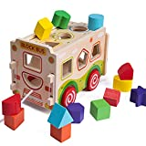 Bebamour Baby Toys 6+ Months Baby Activity Cube Juguete Multipropósito Centro de Juegos Ordenar Play Bloques de construcción, 13 Holes Block Bus