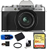 Fujifilm X-T200 Mirrorless Digital Camera with 15-45mm Lens (Silver) Bundle: Includes, SanDisk 64GB Extreme SDXC Memory Card, Spare Battery, Card Reader, Memory Card Wallet + More (7 Items)