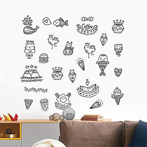 Xcao Lustige Katzen Wandaufkleber Für Kinderzimmer Dekoration PVC Mural Diy Küchenschrank Wohnkultur Cartoon Kleine Tier Wandkunst Aufkleber