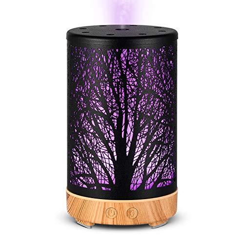 STAJOY Diffuseurs d'Aromathérapie à Ultrasons 100 ml Avec Arrêt Automatique Sans Eau, Mode Brouillard, 8 Lumières LED de Couleur Pour la Maison, le Bureau, Le Yoga (fer)