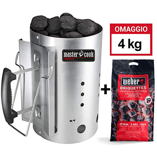 MasterCook - Kit Accenditore Barbecue + 4 kg Bricchetti Weber Omaggio - Impugnatura di Sicurezza in Alluminio - Kit ciminiera, accenditore 30 x 19 cm, Diametro Circa 19 cm, capienza Oltre 1,5 kg