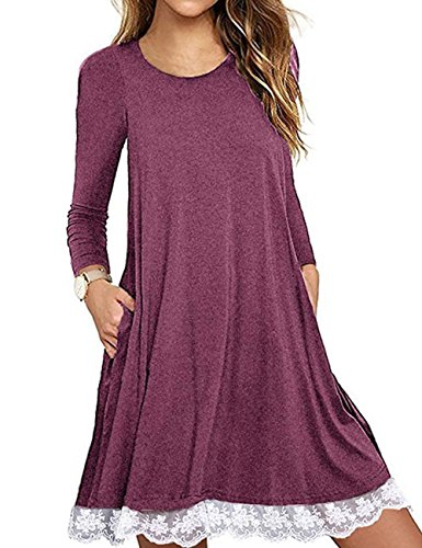 Halife Women's Elegant Round Neck Long Sleeve A Line Swing Flowy Dresses with Pockets,01-wine Red,Medium