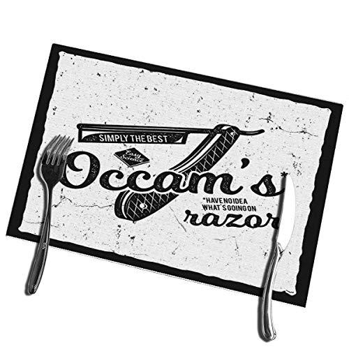 6pcs Esstisch Tischsets Vintage Science Occam Rasiermesser Prinzip Elemente Wissenschaft Hitzebeständige Tischsets