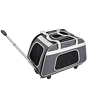 Petsfit Rolling Pet Breathable Carrier with Removeable Wheels for Dogs, Cats up to 28 Pounds
