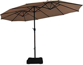 Tangkula 15 Ft Patio Double Sided Umbrella with Base, Outdoor Extra Large Market Umbrella with Crank Handle, Outdoor Twin ...