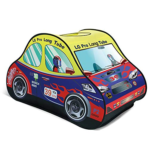 FUN LITTLE TOYS Race Car Pop Up Play Tent for Kids, Toy Playhouse for Indoor & Outdoor, Gifts for Boys & Girls