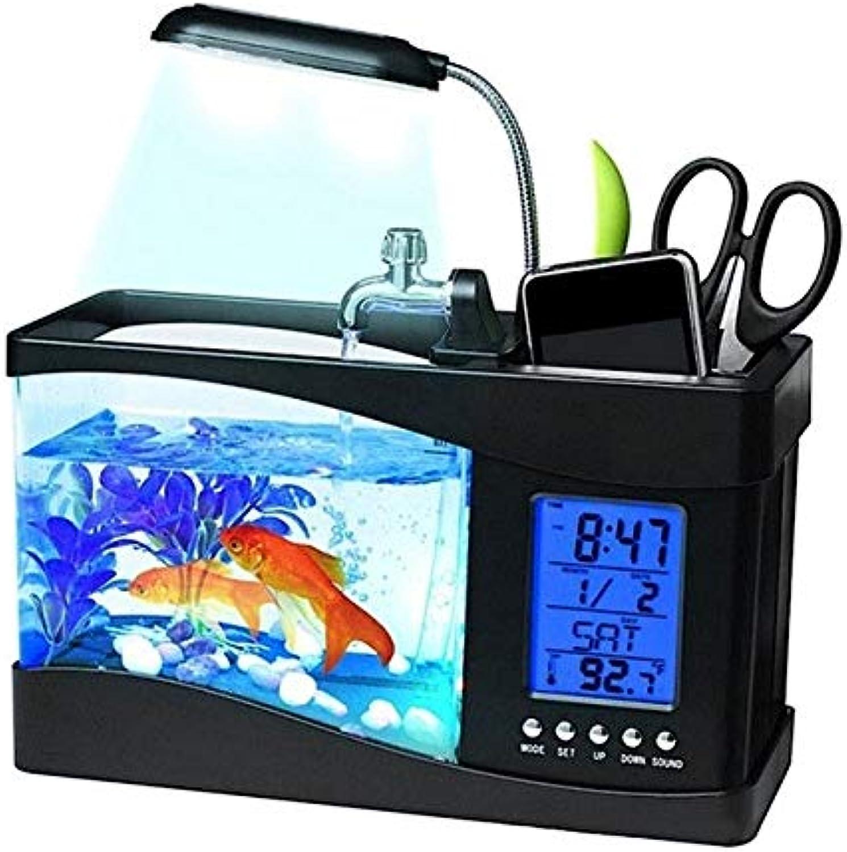 Hot USB Desktop Mini Fish Tank Aquarium Glass LCD Timer Orologio LED Lamp Luce Nero /Bianco acquario acquario serbatoio: nero, 20x24x9cm