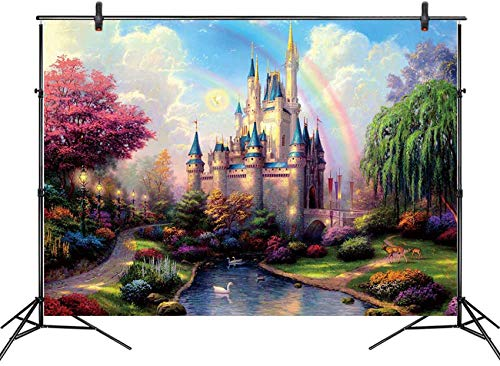 Princess Castle Backdrop for Photography Fairy Tale Blue Sky and White Clouds Backgrounds Kids Children Girls Princess Birthday Party Banner Baby Shower Photoshoot Booth Props 7x5ft