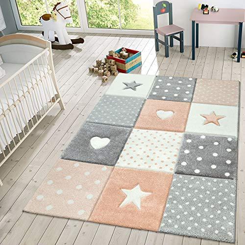 TT Home Kindertapijt speeltapijt ruiten punten sterren hart pastel abrikoos grijs