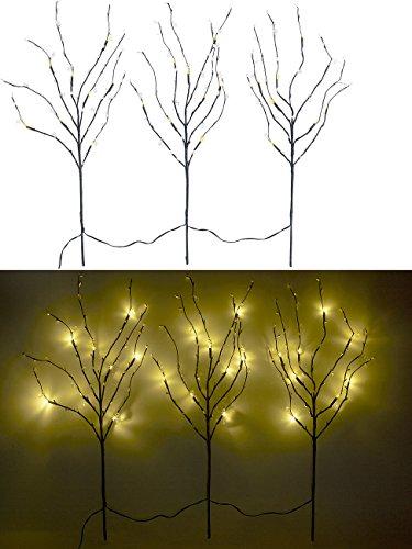 Lunartec Leuchtzweige: 3 Deko-Zweige, je 48 Kunststoff-Knospen & 8 LEDs, batteriebetr, Timer (Deko Zweige mit Beleuchtung)