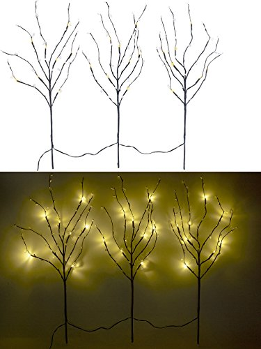 Lunartec Leuchtzweige: 3 Deko-Zweige, je 48 Kunststoff-Knospen & 8 LEDs, batteriebetr, Timer (Lichterzweig)