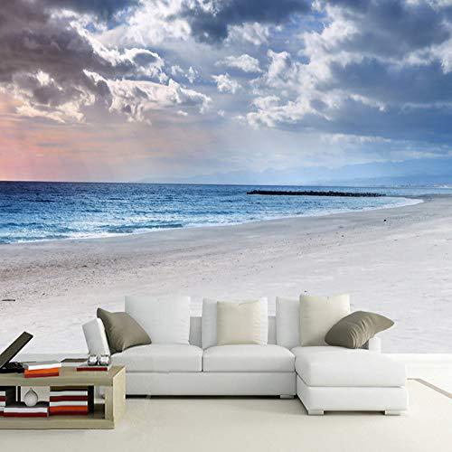 Muurbehang 4D-behang, modern, eenvoudige hemel blauw en witte wolken, landschap, kussen, grote druk, kunstdruk, voor thuis, woonkamer, slaapkamer, decoratie 104in×168in 260cm(H)×420cm(W)
