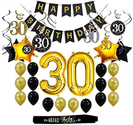 30th Birthday Decorations Gifts Party Supplies for Him/Her (Men/Women) - Dirty 30 Birthday Party Supplies Backdrop Sash Happy Birthday Banner, 30 Gold Number Balloons