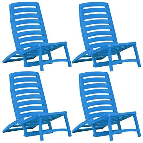 Festnight- 4er Set Strandstuhl Liegestuhl | Klappbarer Campingstuhl | Kunststoff Klappstuhl für Angeln, Garten und Camping, Blau