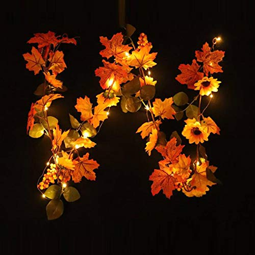 LED Light String, Elevin(TM) Halloween 1.8M LED Lighted Fall Autumn Pumpkin Maple Leaves Garland Decor (B)