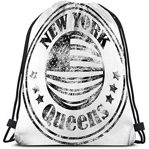 Roman Lin String Gym Mochila Classic Drawstring Bag Sport Storage Bag Street Graphic Style NYC Queens City Art Plantilla Ropa Tarjeta Etiqueta Cartel Emblema Sello Calle