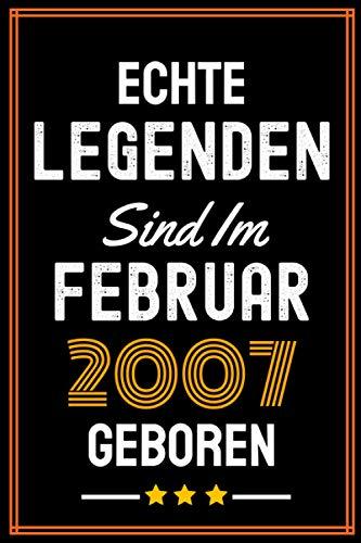 Echte Legenden Sind Im Februar 2007 Geboren: 14 Geburtstag Geschenk Notizbuch für Junge Mädchen, Geschenke für 14 jährige Bruder Schwester Freund