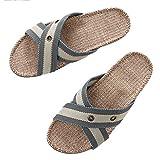 Zapatillas Cinta de lona cruzada Diapositivas de lino Chanclas planas antideslizantes para interiores