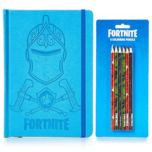 Fortnite Estuche Escolar 3 Lápices y 3 Gomas de Borrar | Estuche Gran Capacidad para Material Escolar | Set De Papelería Completo Regalo Niño 5 a 12 Años (Azul)
