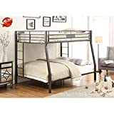 Jresboen Updated Version & Stronger Bunk Bed, Industrial Style Thicken Metal Bunk Bed Frame with Side Ladder and Guard Rails for Kids Girls Boys and Adults (Full XL Over Queen)