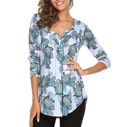 Toamen Femmes T-shirt imprimé Manche longue Floral Ladies Casual Tunique Blouse Chemise à manches longues Bouton O cou Tops (XXL, blanc)