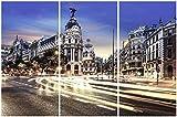 TRENDECOR - Cuadros Impresión Digital - Fotografía Madrid Tríptico sobre Cristal Templado (180x120)