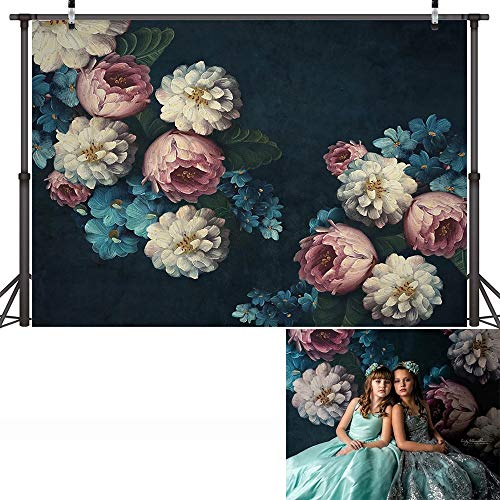 Fondo de fotografía de Retrato de bebé recién Nacido Floral Textura Abstracta Fondo de cumpleaños de Flores Estudio fotográfico A6 5x3ft / 1,5x1m