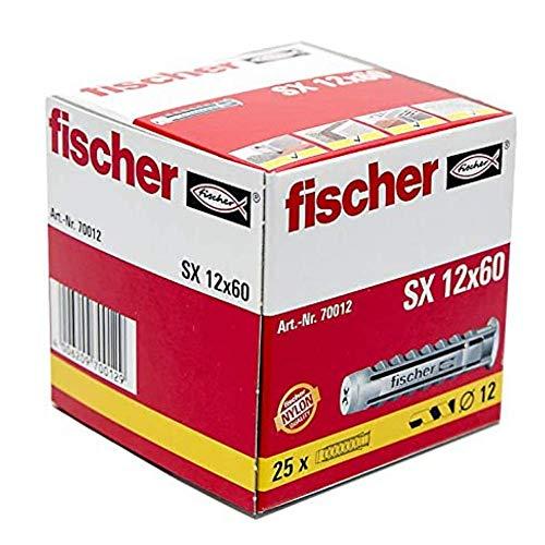 fischer 70012 Taco SX 12x60 (Caja de 25 Ud.), 070012, Gris