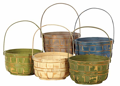 Napco Wood Bushel Style Basket with Handle, 6-Inch, Color Will Vary