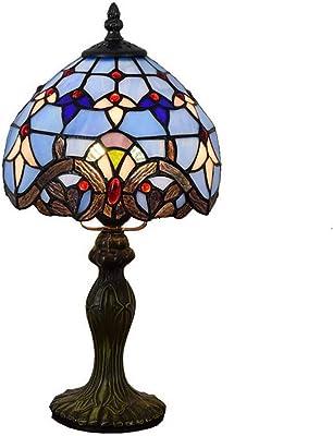 AOKARLIA Azul Lámpara Barroca Estilo Tiffany Vitral Lámpara De ...