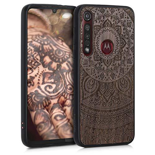 kwmobile Bumper Schutzhülle kompatibel mit Motorola Moto G8 Plus - Holz Hülle Handy Case Cover Walnussholz Indische Sonne Dunkelbraun