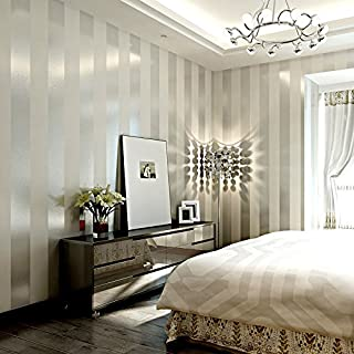 Papel pintado moderno minimalista de tela no tejida salón dormitorio tv papel tapiz de pared simple papel pintado vertical a rayas verticales, blanco plateado