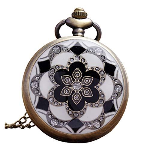 LiQinKeJi8 Reloj de Bolsillo Verde Jade Crystal Quartz Big Pocket Reloj Collar Colgante Cadena para Hombre Regalo para Hombres Mujeres (Color : B)