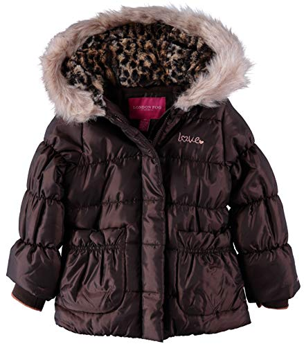 London Fog Little Girl's Quilted Faux-Fur Hooded Winter Jacket, Brown  (2T)