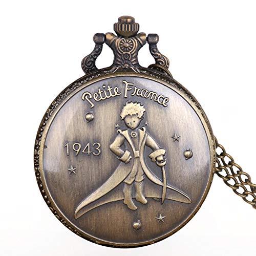 WASZJ Relojes de Bolsillo con Caja metálica de Acero Inoxidable Relojes de Bolsillo de Cuarzo de aleación para niños pequeños