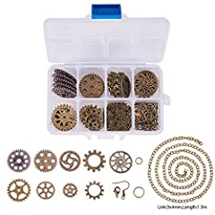 SUNNYCLUE 1 Box 140+ pcs Antique Bronze Steampunk Gears Jewelry Making Starter Kit Metal Gears Clock Watch Wheels Charms Pendants for DIY Necklace Earrings Making - Make 6 Pairs Earrings & 3 Necklace #1
