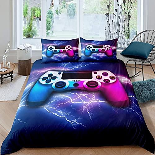 Gamer Gaming Comforter Cover Set for Kids Teen Youth Boys Man Game Room, Video Games Bedding Set Lightning Gamepad Pattern Decor Duvet/Quilt Cover, Modern Decorative 3 Piece, Double