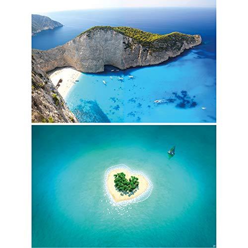 GREAT ART Set de 2 Posters XXL - Islas de ensueño - Zakynthos corazón Isla Playa trópicos Grecia Amor naufragio mar Naturaleza Pared decoración Foto póster de Pared (140 x 100 cm)