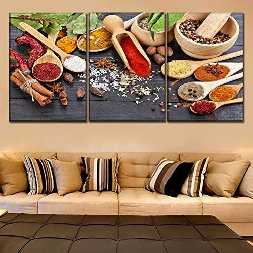 GYSS 3 panelen afbeelding voor keuken en decoratie van restaurants levensmiddelenkleur lepel korrels specerijen canvas Wall Art HD Poster