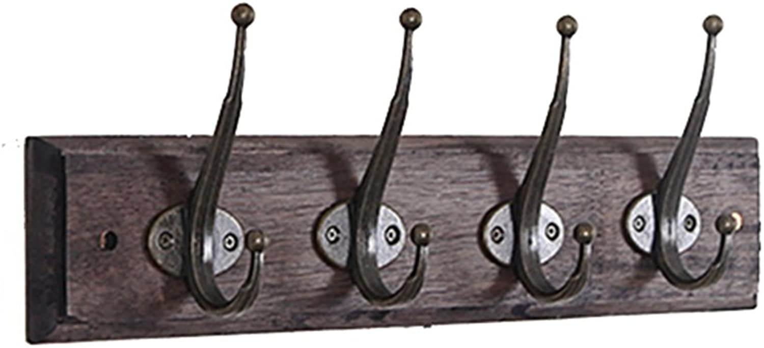 Wall-Mounted Coat Rack Wood Hooks Hanging Clothes Retro Style, 3 Sizes Clothes Hook (Size   4 Hooks)