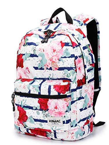 Kinmac Waterproof Laptop Travel Outdoor Backpack with USB Charging Port for 13 inch 14 inch and 15.6 inch Laptop (Chinese Rose)