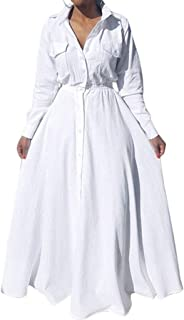 Women's Pleated Long Sleeve Party Cocktail Long Maxi Button Down White Shirt Dress