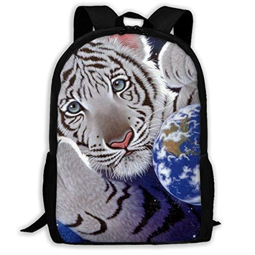White Tiger Backpack School Bag, 3d Print Lightweight Bookbag Travel Daypack For Boys & Girls
